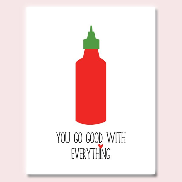 Sriracha Hot Sauce Card - Spicy Love Card