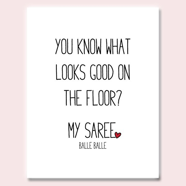 On The Floor Saree Love Valentine's Day Card