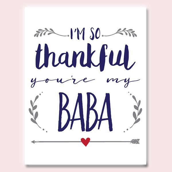 Thankful You're My Baba Father's Day Card