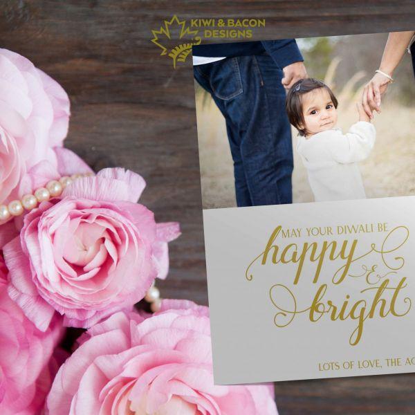 Diwali Photo Card - Happy & Bright - Personalized DIY