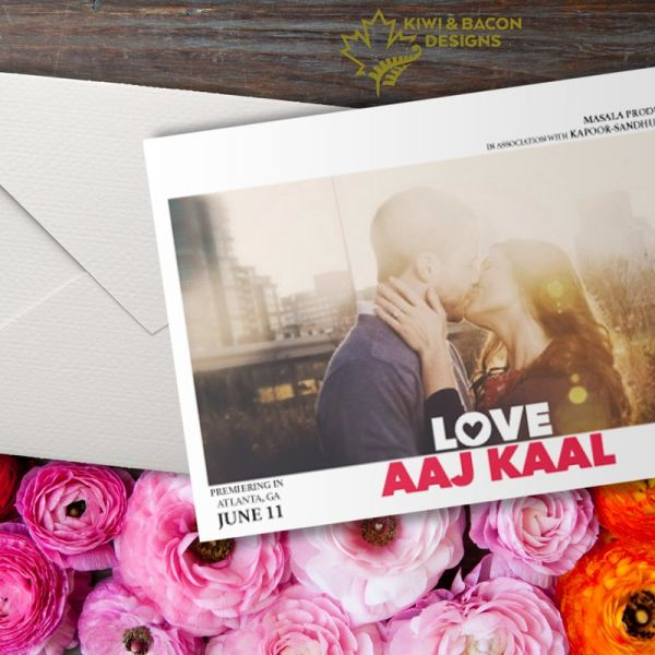 Indian Save the Date - Love Aaj Kaal - Editable DIY