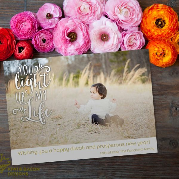 Diwali Photo Card - You Light Up My Life - Personalized DIY